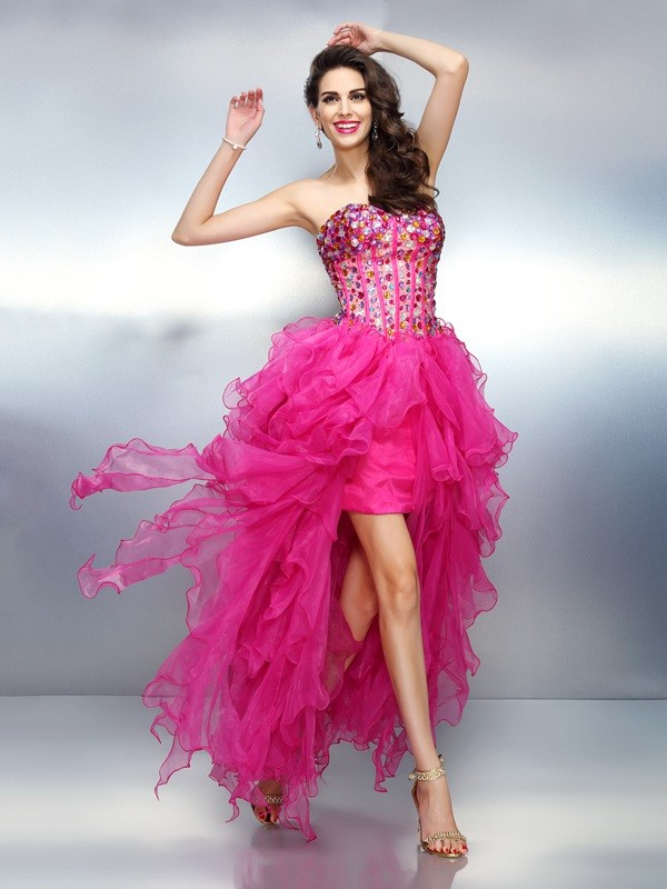 A-Line/Princess Rhinestone Sweetheart Sleeveless Asymmetrical Organza Dresses