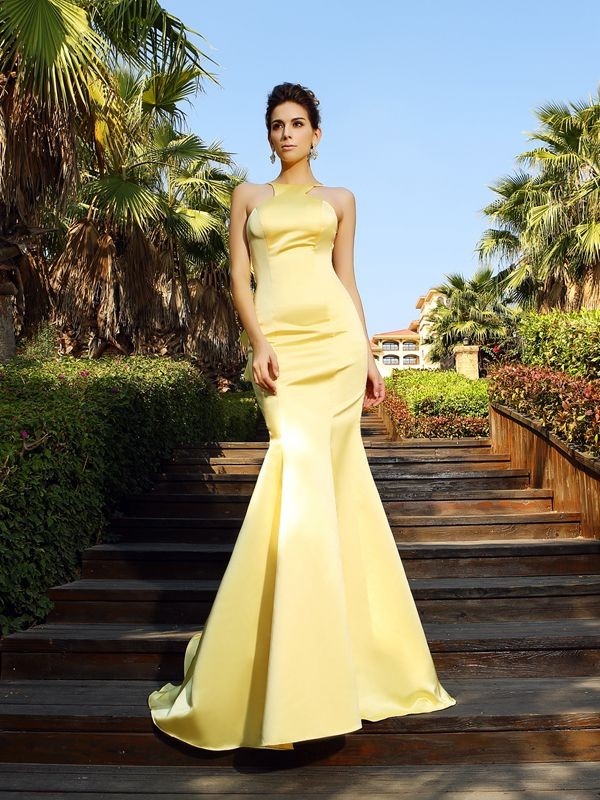 Trumpet/Mermaid Scoop Sleeveless Court Train Satin Dresses