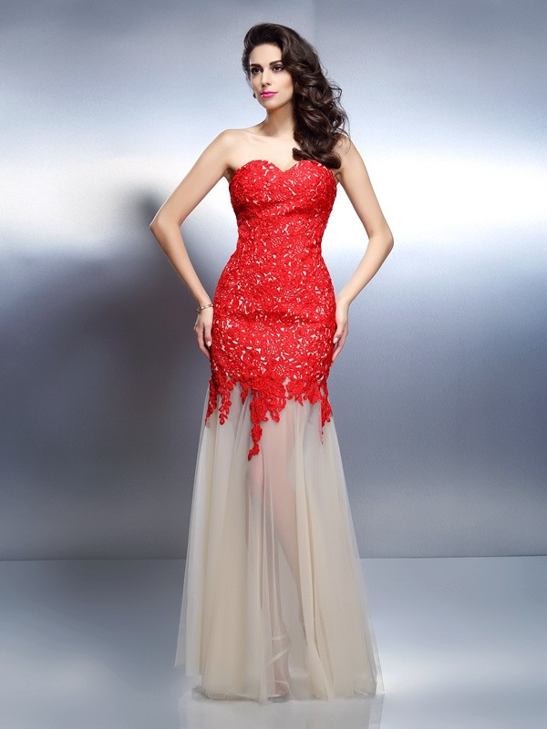A-Line/Princess Applique Sweetheart Sleeveless Floor-Length Net Dresses