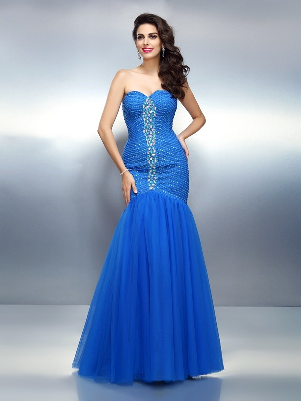 Trumpet/Mermaid Rhinestone Sweetheart Sleeveless Floor-Length Satin Dresses