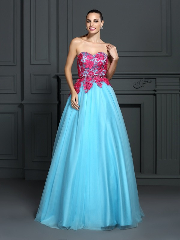 Ball Gown Lace Sweetheart Sleeveless Floor-Length Satin Dresses