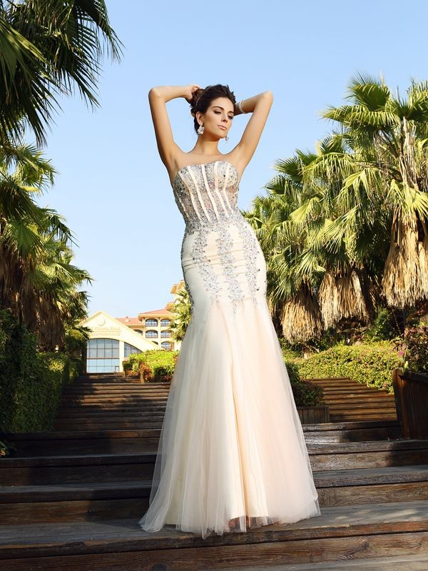 Trumpet/Mermaid Beading Strapless Sleeveless Floor-Length Satin Dresses