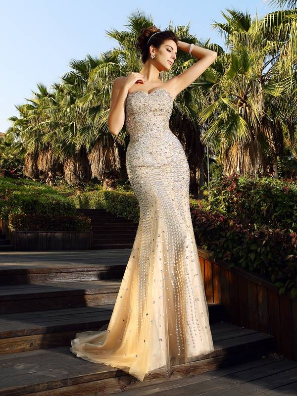 Trumpet/Mermaid Beading Sweetheart Sleeveless Court Train Satin Dresses