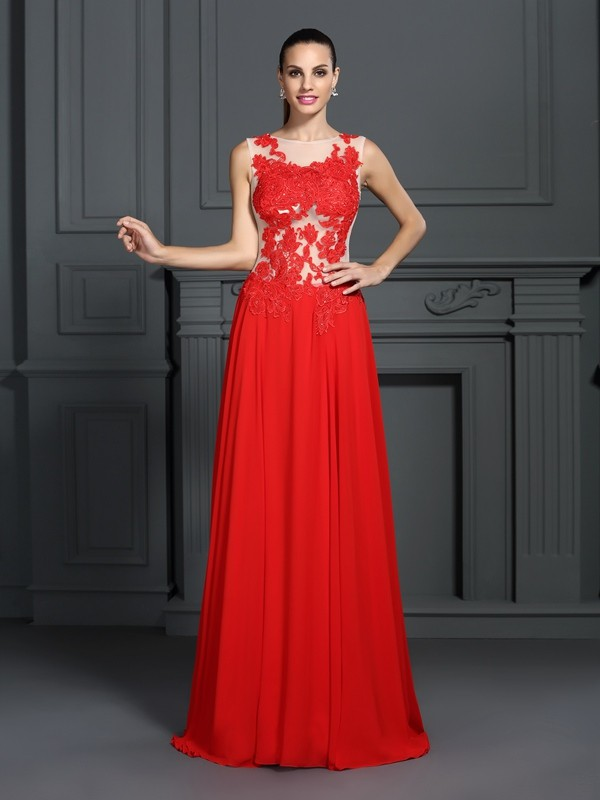 A-Line/Princess Applique Bateau Sleeveless Sweep/Brush Train Chiffon Dresses