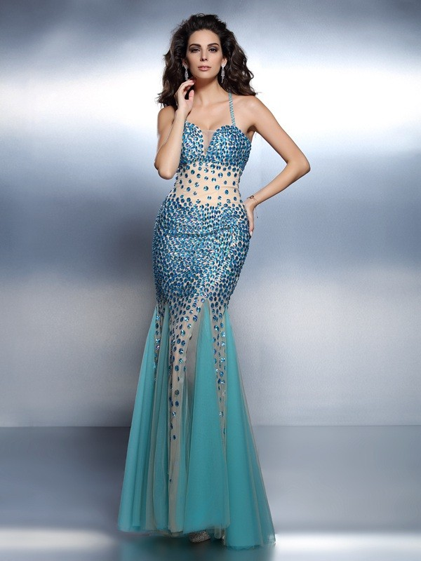 Trumpet/Mermaid Rhinestone Spaghetti Straps Sleeveless Floor-Length Satin Dresses