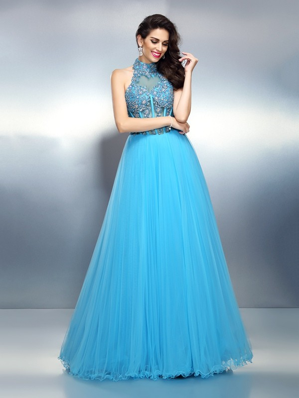 A-Line/Princess Beading High Neck Sleeveless Floor-Length Satin Dresses