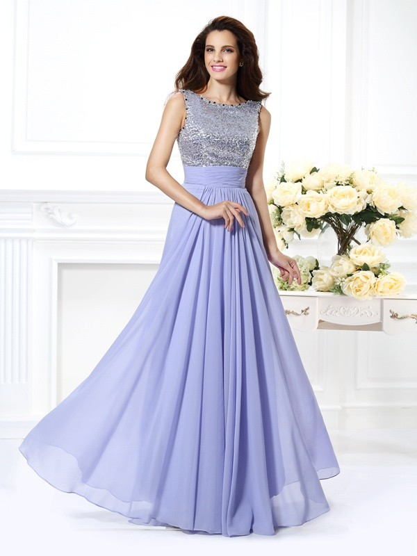 A-Line/Princess Lace Bateau Sleeveless Floor-Length Chiffon Dresses