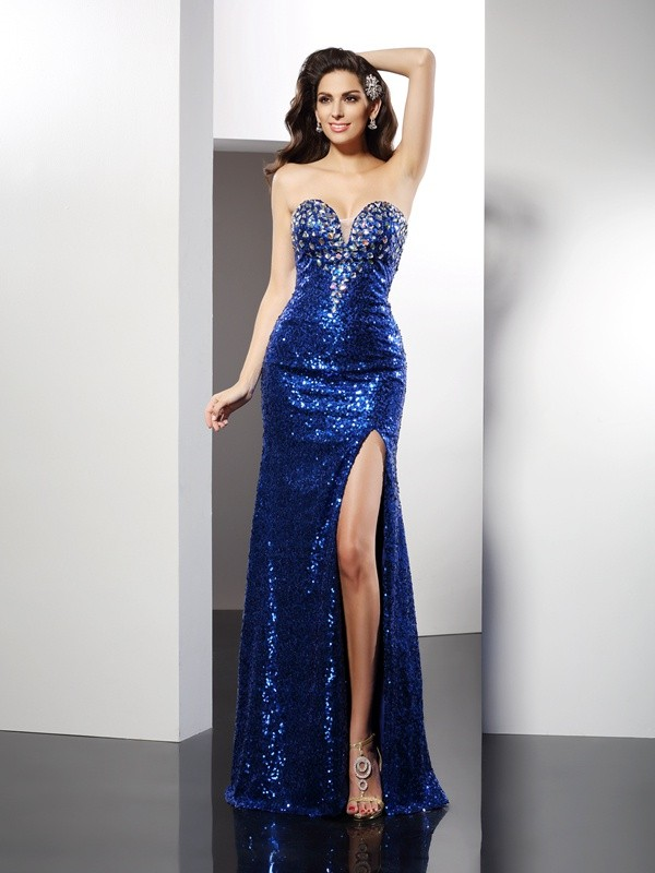 Sheath/Column Sequin Sweetheart Sleeveless Floor-Length Sequins Dresses
