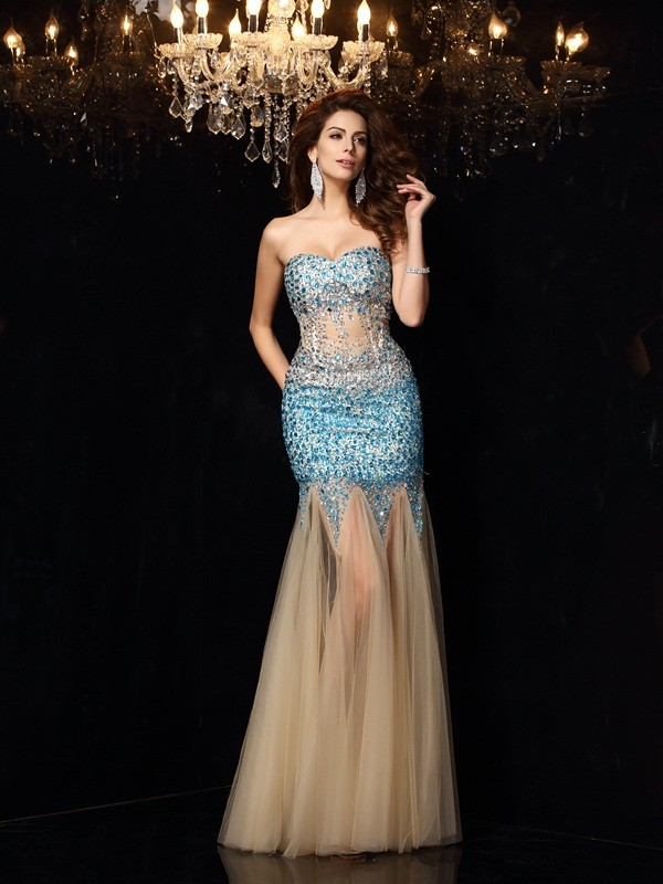 Sheath/Column Beading Sweetheart Sleeveless Floor-Length Net Dresses