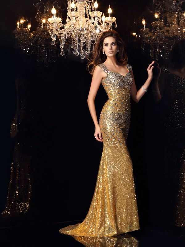 Trumpet/Mermaid Rhinestone Straps Sleeveless Floor-Length Sequins Dresses