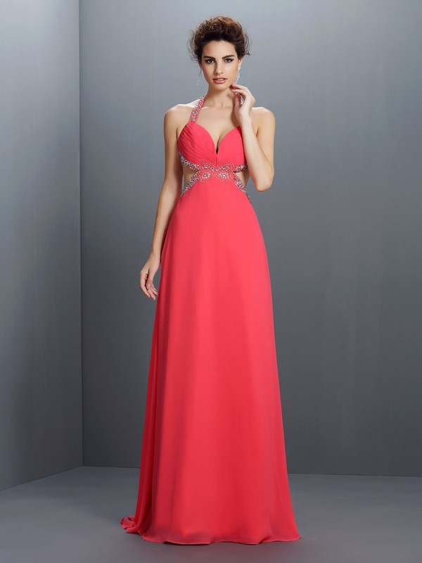 A-Line/Princess Beading Halter Sleeveless Sweep/Brush Train Chiffon Dresses