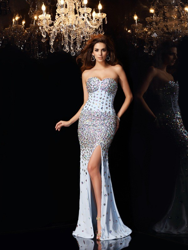 Trumpet/Mermaid Rhinestone Sweetheart Sleeveless Sweep/Brush Train Chiffon Dresses