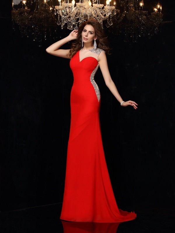 Sheath/Column Beading Scoop Sleeveless Sweep/Brush Train Chiffon Dresses