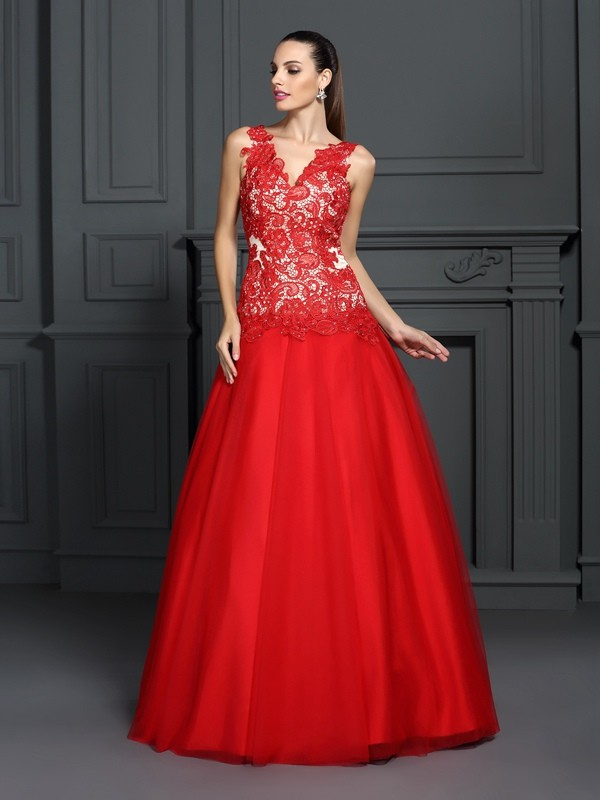 Ball Gown Lace V-neck Sleeveless Floor-Length Lace Dresses