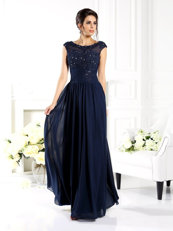 A-Line/Princess Beading Scoop Sleeveless Floor-Length Chiffon Mother of the Bride Dresses