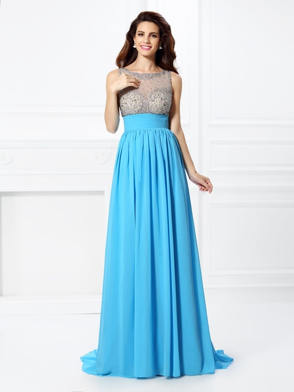 A-Line/Princess Beading Bateau Sleeveless Sweep/Brush Train Chiffon Dresses