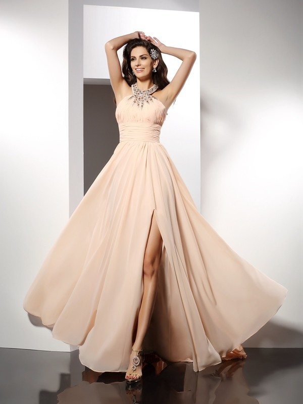 A-Line/Princess Ruffles Jewel Sleeveless Sweep/Brush Train Chiffon Dresses