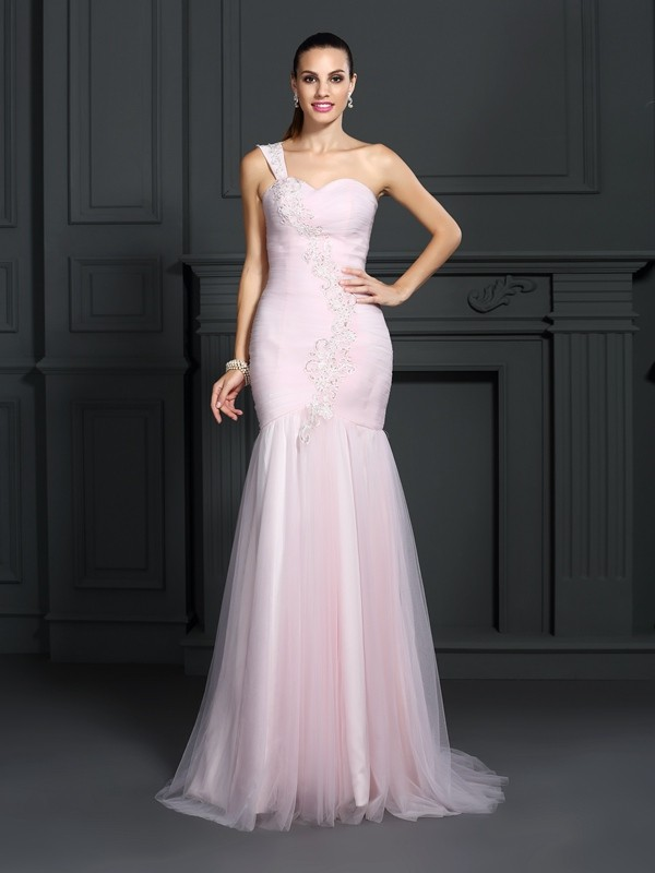 Trumpet/Mermaid One-Shoulder Sleeveless Sweep/Brush Train Satin Dresses