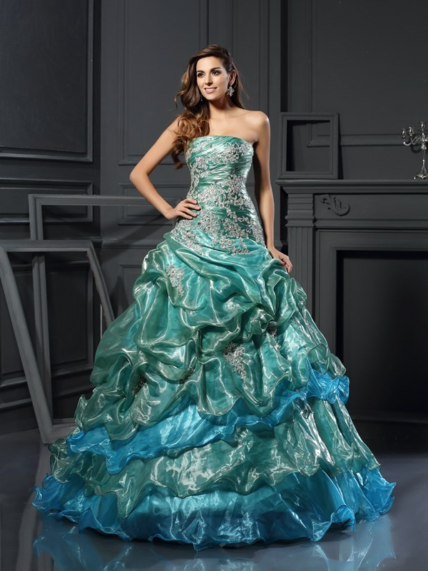 Ball Gown Applique Sweetheart Sleeveless Floor-Length Tulle Dresses