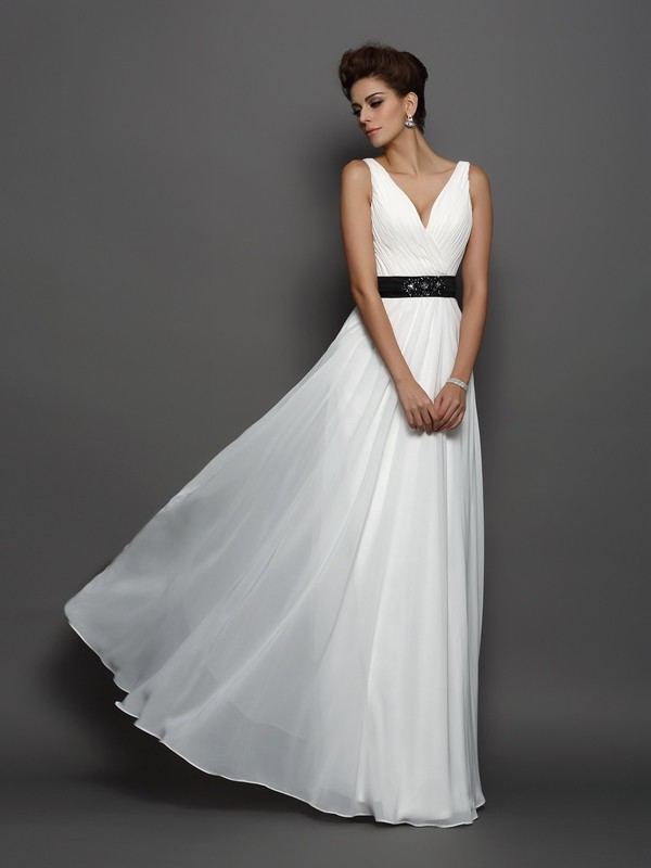 A-Line/Princess Sash/Ribbon/Belt V-neck Sleeveless Floor-Length Chiffon Wedding Dresses