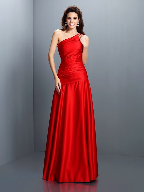 A-Line/Princess Pleats One-Shoulder Sleeveless Floor-Length Satin Dresses
