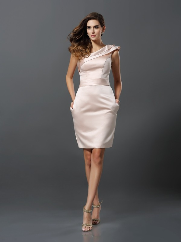 Sheath/Column One-Shoulder Sleeveless Knee-Length Satin Dresses