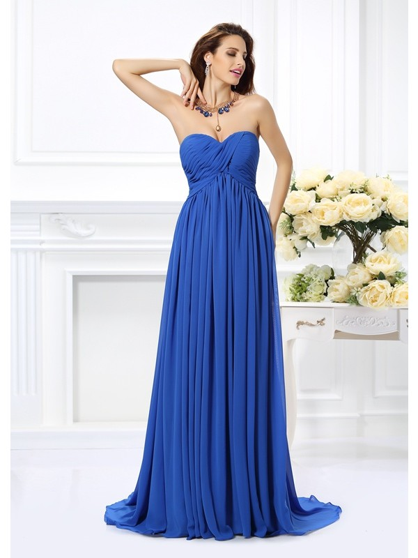 A-Line/Princess Ruched Sweetheart Sleeveless Chapel Train Chiffon Dresses