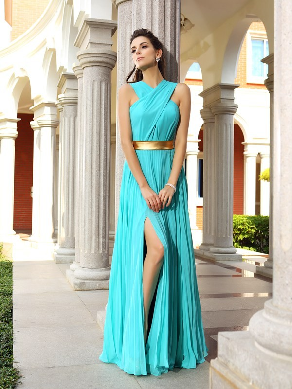 A-Line/Princess Pleats Other Sleeveless Floor-Length Chiffon Dresses