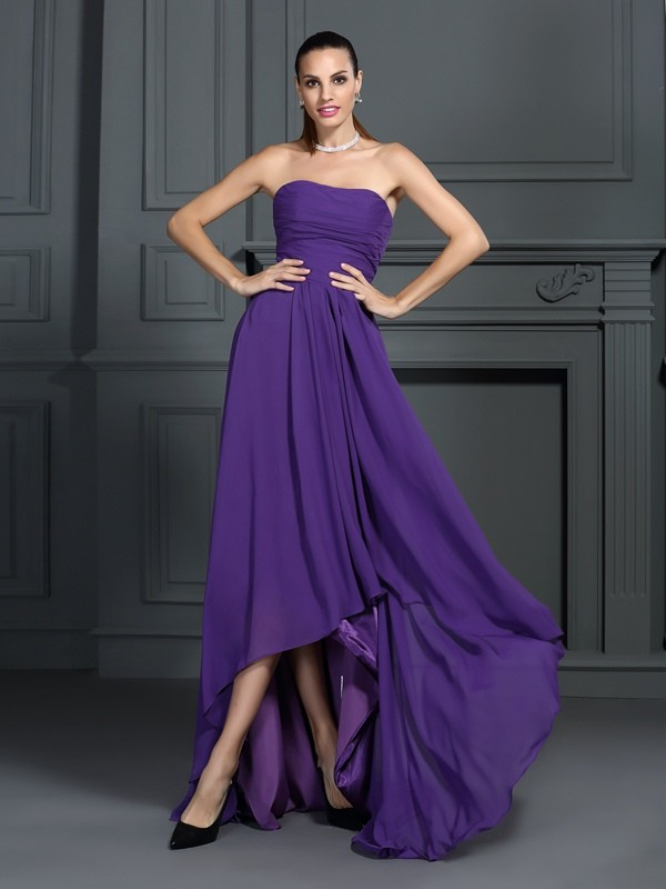 A-Line/Princess Pleats Strapless Sleeveless Asymmetrical Chiffon Dresses