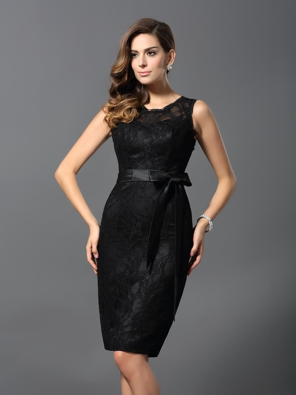 Sheath/Column Lace Jewel Sleeveless Knee-Length Satin Dresses