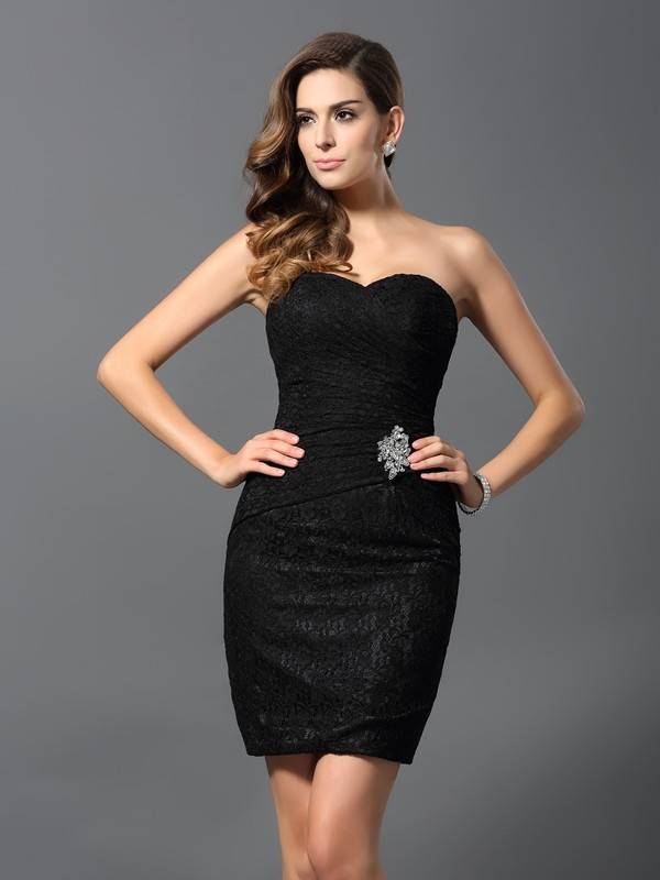 Sheath/Column Rhinestone Sweetheart Sleeveless Short/Mini Lace Dresses