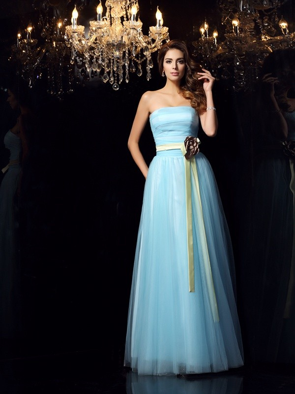 Ball Gown Sash/Ribbon/Belt Strapless Sleeveless Floor-Length Satin Dresses
