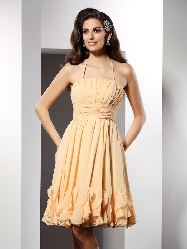 A-Line/Princess Ruffles Halter Sleeveless Knee-Length Chiffon Dresses
