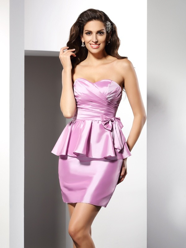 Sheath/Column Bowknot Sweetheart Sleeveless Short/Mini Taffeta Dresses