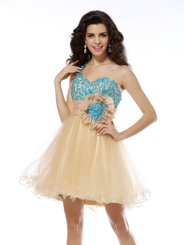 A-Line/Princess Applique One-Shoulder Sleeveless Short/Mini Net Dresses