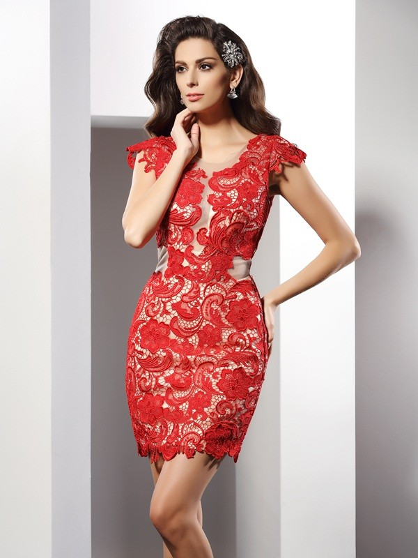 bfa89aa220f Sheath Column Lace Scoop Sleeveless Short Mini Elastic Woven Satin Dresses