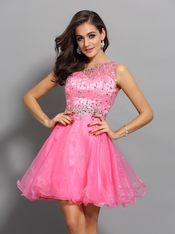 A-Line/Princess Ruffles One-Shoulder Sleeveless Short/Mini Organza Dresses