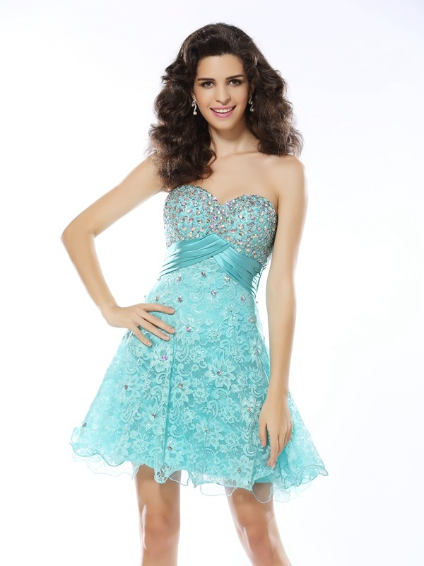 A-Line/Princess Ruffles Sweetheart Sleeveless Short/Mini Satin Dresses
