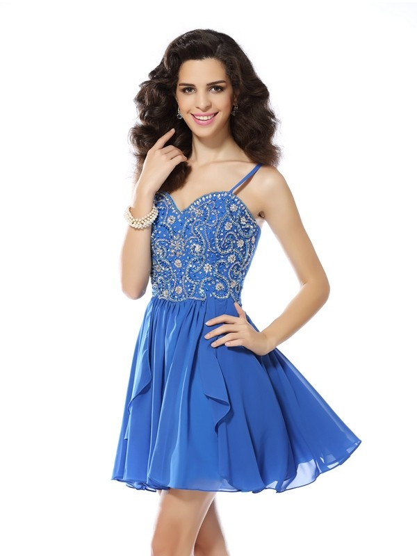 A-Line/Princess Beading Spaghetti Straps Sleeveless Short/Mini Chiffon Dresses