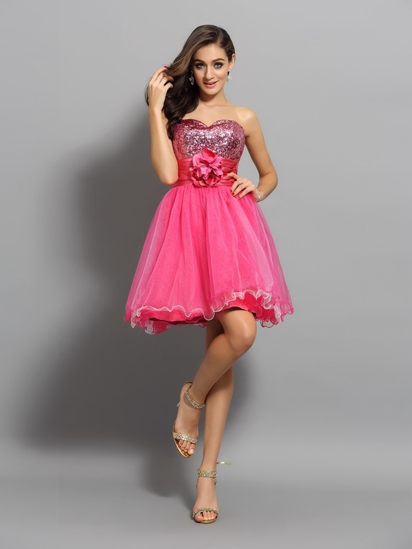 A-Line/Princess Ruffles Sweetheart Sleeveless Short/Mini Net Dresses