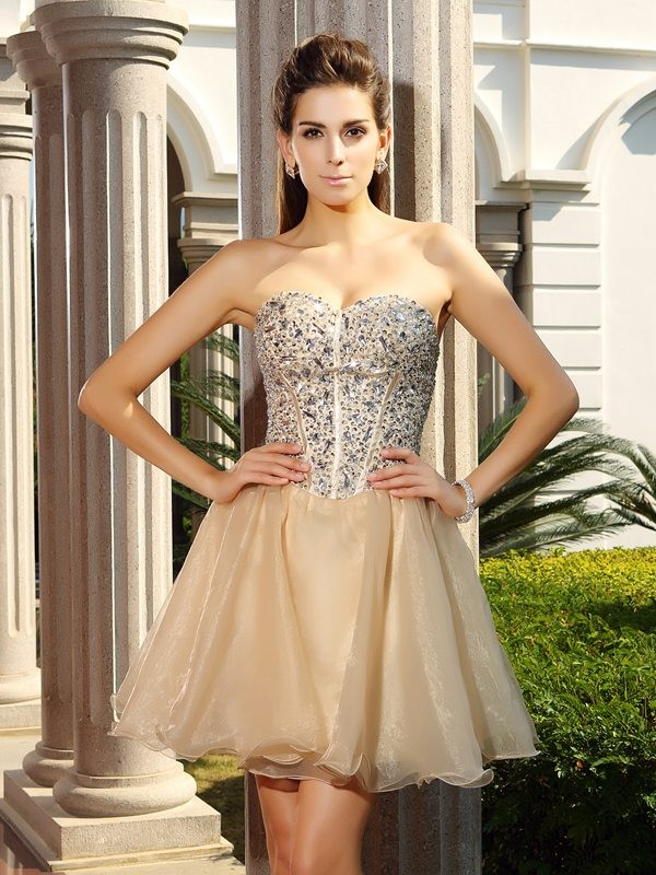 A-Line/Princess Ruffles Sweetheart Sleeveless Short/Mini Organza Dresses