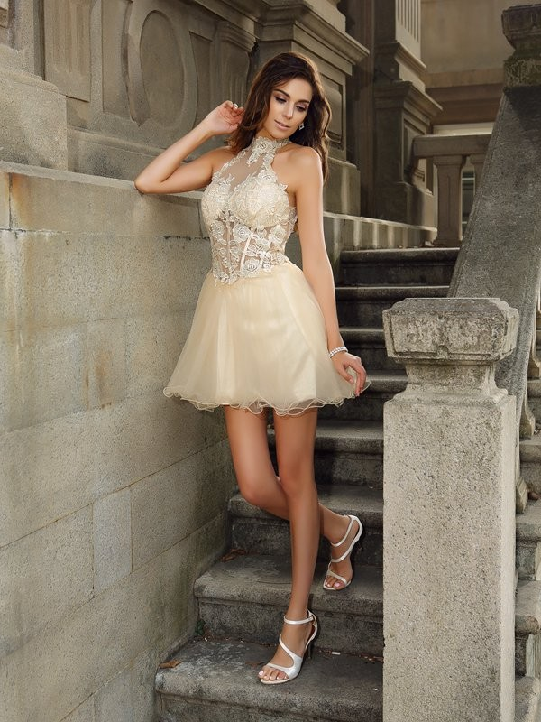 A-Line/Princess Ruffles High Neck Sleeveless Short/Mini Tulle Dresses