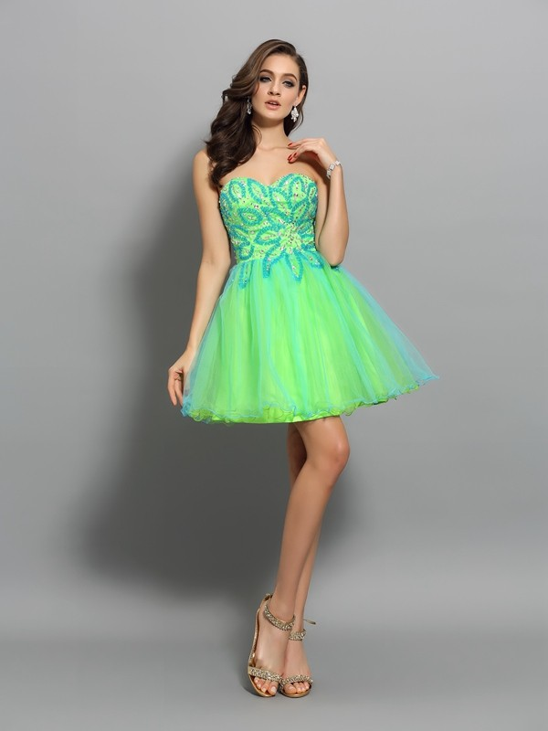 A-Line/Princess Beading Sweetheart Sleeveless Short/Mini Net Dresses