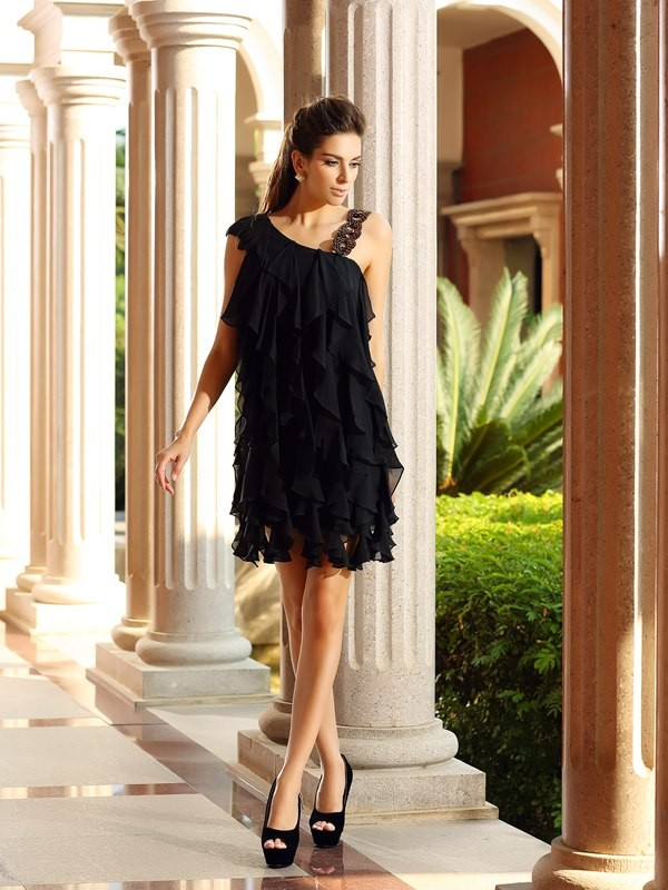 A-Line/Princess Ruffles Other Sleeveless Short/Mini Chiffon Dresses