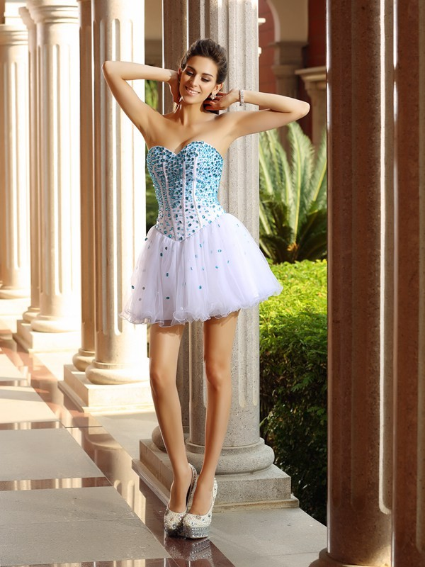 A-Line/Princess Ruffles Sweetheart Sleeveless Short/Mini Tulle Dresses