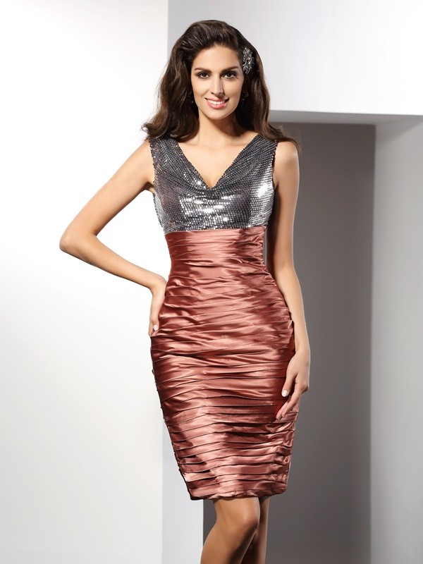 Sheath/Column V-neck Sleeveless Knee-Length Silk like Satin Dresses