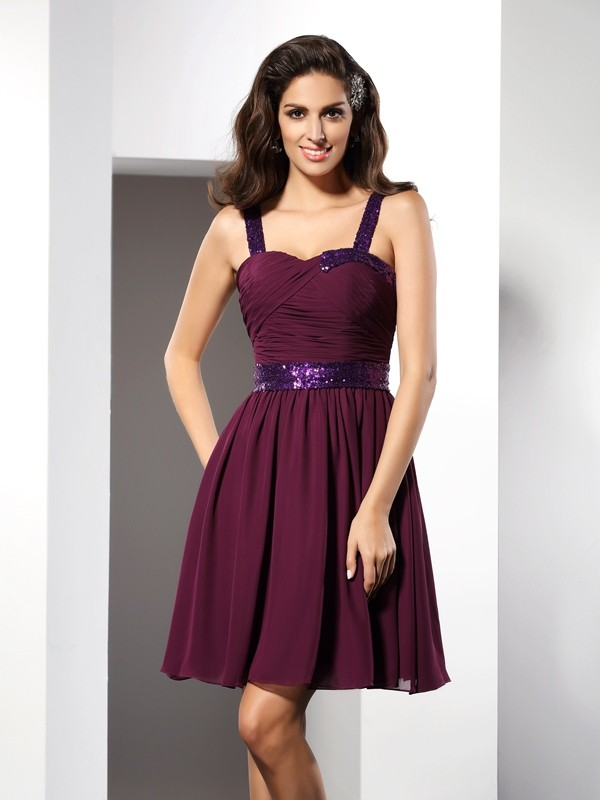A-Line/Princess Ruched Straps Sleeveless Short/Mini Chiffon Dresses