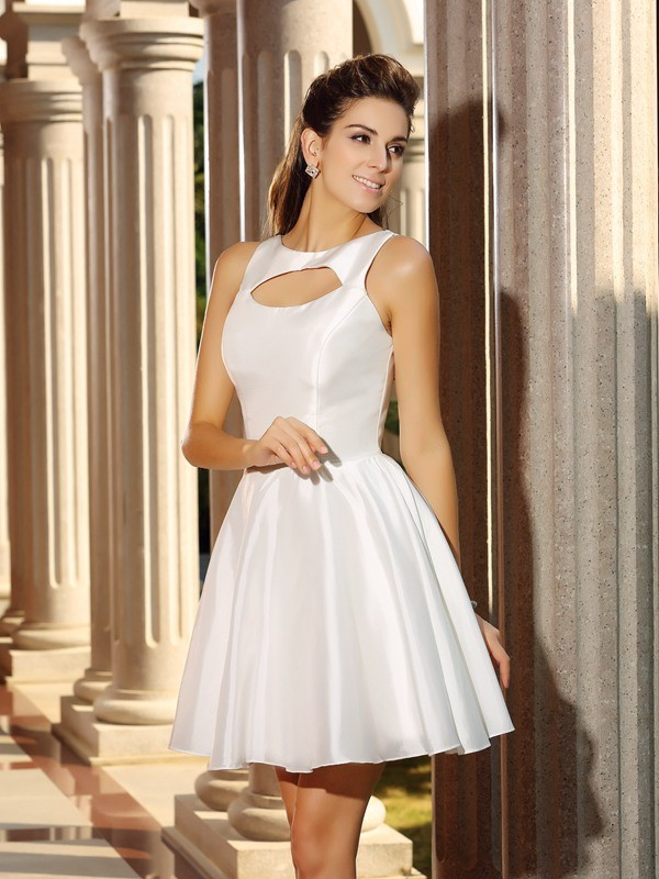A-Line/Princess High Neck Sleeveless Short/Mini Satin Dresses