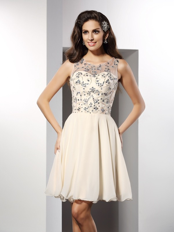 A-Line/Princess Beading Bateau Sleeveless Short/Mini Chiffon Dresses