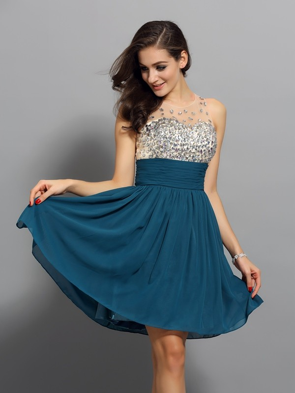 A-Line/Princess Rhinestone Bateau Sleeveless Short/Mini Chiffon Dresses